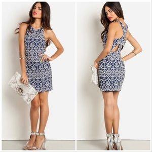 Dolce Vita Blue Tribal Tapestry Mini Dress XS
